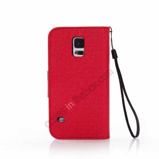 cheap Hit Contrast Color Leather Stand Case Samsung Galaxy S5 G900 with Credit Card Slots - Red/Black