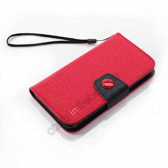 top quality Hit Contrast Color Leather Stand Case Samsung Galaxy S5 G900 with Credit Card Slots - Red/Black
