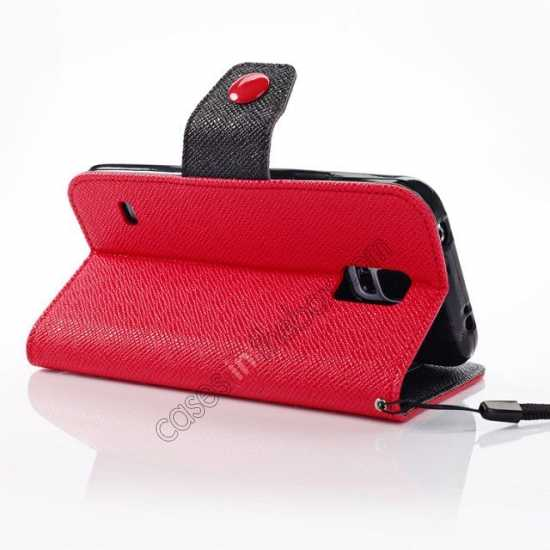 best price Hit Contrast Color Leather Stand Case Samsung Galaxy S5 G900 with Credit Card Slots - Red/Black
