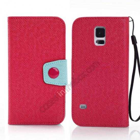 wholesale Hit Contrast Color Leather Stand Case Samsung Galaxy S5 G900 with Credit Card Slots - Red Green