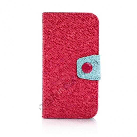 discount Hit Contrast Color Leather Stand Case Samsung Galaxy S5 G900 with Credit Card Slots - Red Green