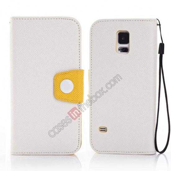 wholesale Hit Contrast Color Leather Stand Case Samsung Galaxy S5 G900 with Credit Card Slots - White