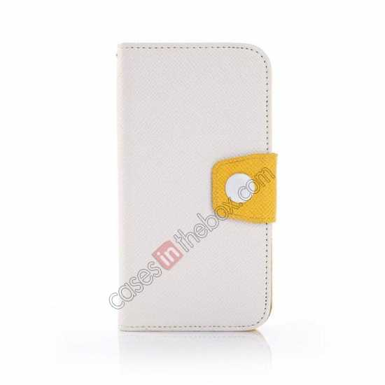 discount Hit Contrast Color Leather Stand Case Samsung Galaxy S5 G900 with Credit Card Slots - White