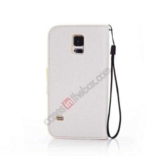 cheap Hit Contrast Color Leather Stand Case Samsung Galaxy S5 G900 with Credit Card Slots - White