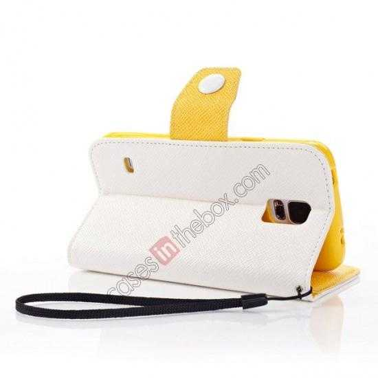 top quality Hit Contrast Color Leather Stand Case Samsung Galaxy S5 G900 with Credit Card Slots - White