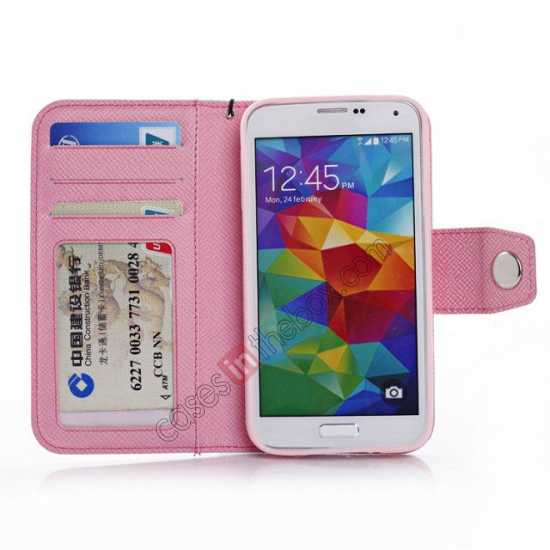 low price Hit Contrast Color Leather Stand Case Samsung Galaxy S5 G900 with Credit Card Slots - White