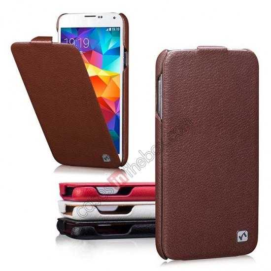 low price HOCO Duke Advanced Genuine Leather Case Cover For Samsung Galaxy S5 - Brown