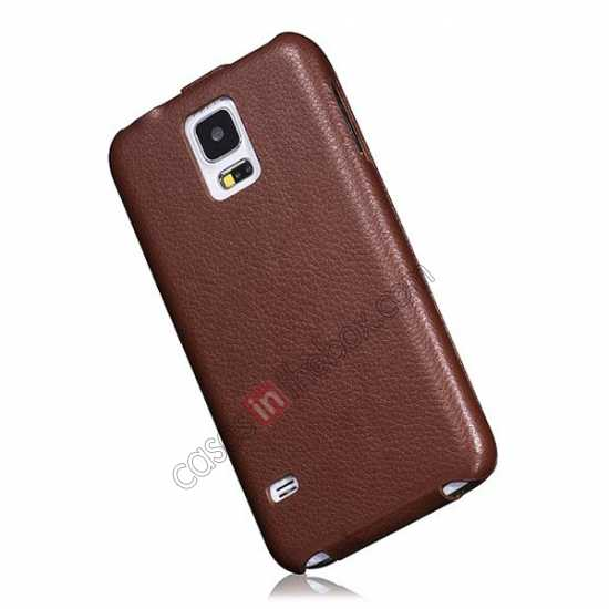 on sale HOCO Duke Advanced Genuine Leather Case Cover For Samsung Galaxy S5 - Brown