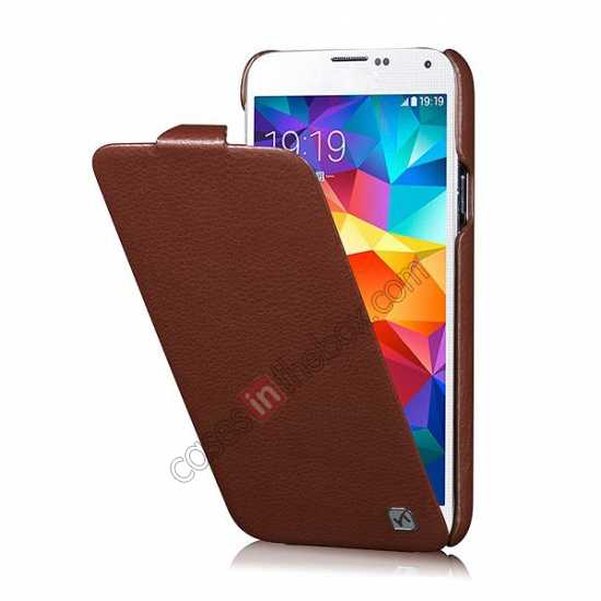 discount HOCO Duke Advanced Genuine Leather Case Cover For Samsung Galaxy S5 - Brown