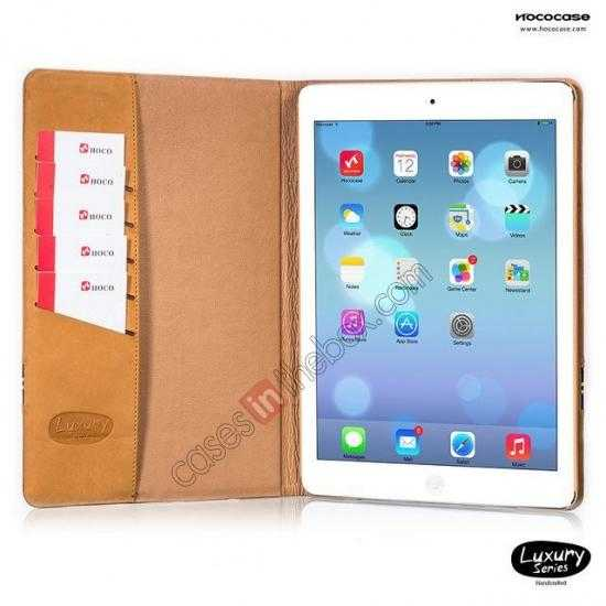 on sale HOCO Luxury Series Genuine Leather Stand Case for iPad Air