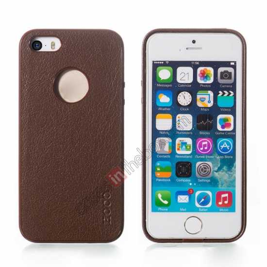 wholesale HOCO Paris Luxury Leather Back Cover Case For iPhone 5 5S - Brown