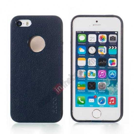 wholesale HOCO Paris Luxury Leather Back Cover Case For iPhone 5 5S - Dark Blue