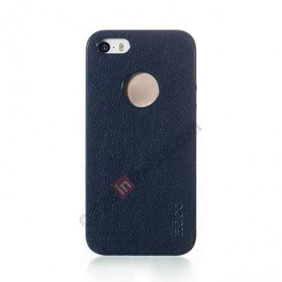 discount HOCO Paris Luxury Leather Back Cover Case For iPhone 5 5S - Dark Blue