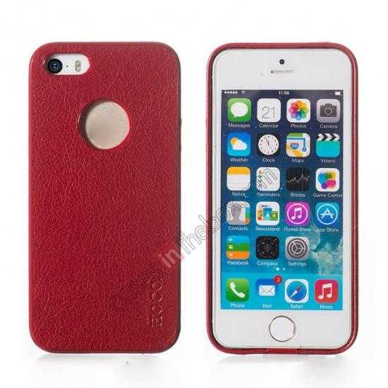 wholesale HOCO Paris Luxury Leather Back Cover Case For iPhone 5 5S - Red