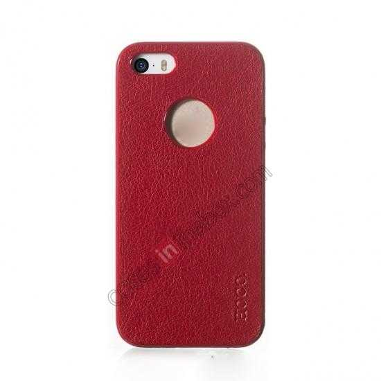 discount HOCO Paris Luxury Leather Back Cover Case For iPhone 5 5S - Red