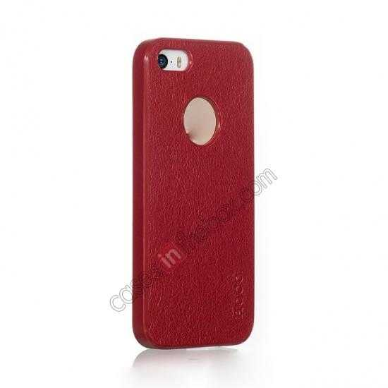 cheap HOCO Paris Luxury Leather Back Cover Case For iPhone 5 5S - Red