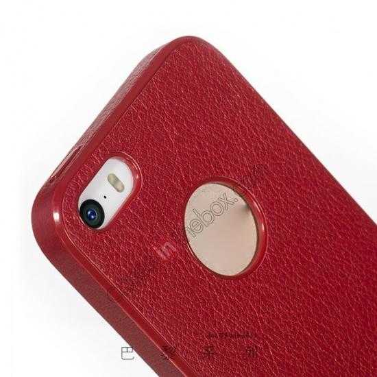 low price HOCO Paris Luxury Leather Back Cover Case For iPhone 5 5S - Red