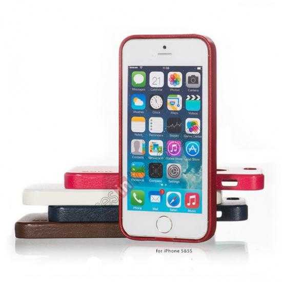 high quanlity HOCO Paris Luxury Leather Back Cover Case For iPhone 5 5S - Red