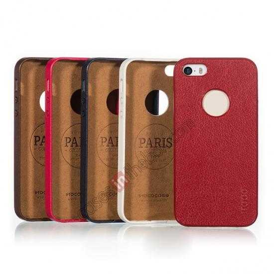china wholesale HOCO Paris Luxury Leather Back Cover Case For iPhone 5 5S - Red
