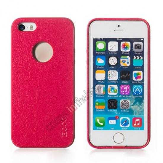 wholesale HOCO Paris Luxury Leather Back Cover Case For iPhone 5 5S - Rose