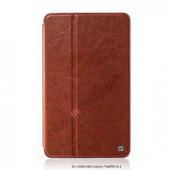 wholesale HOCO Retro Crystal Folder Leather Flip Case for Samsung Galaxy Tab Pro 8.4 T320 - Brown