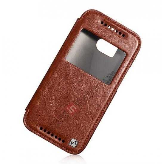 cheap HOCO Retro Series Luxury Leather Flip Case For HTC One M8 - Brown