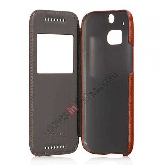 top quality HOCO Retro Series Luxury Leather Flip Case For HTC One M8 - Brown