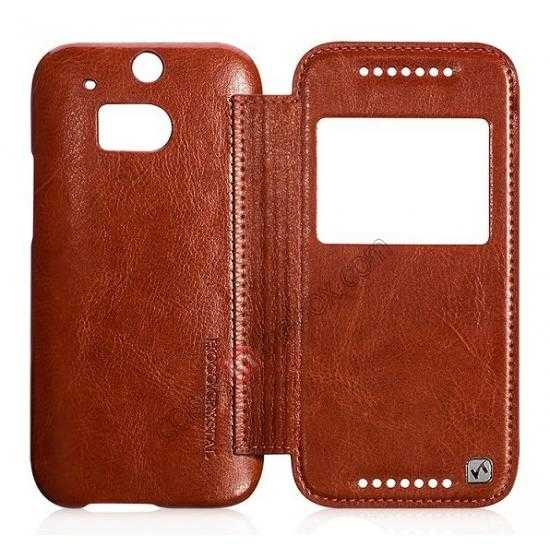 discount HOCO Retro Series Luxury Leather Flip Case For HTC One M8 - Brown