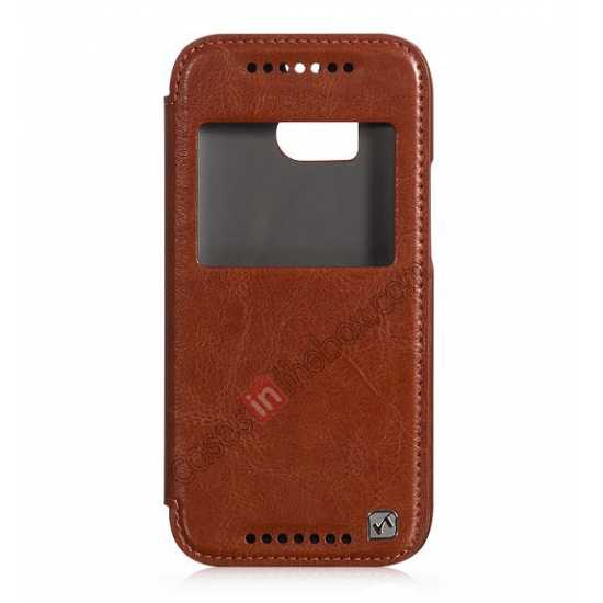 low price HOCO Retro Series Luxury Leather Flip Case For HTC One M8 - Brown