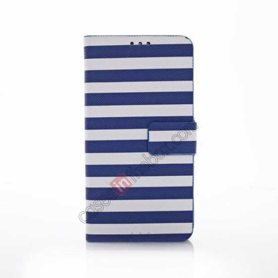 discount Horizontal Strips Card Slots Leather Case for Samsung Galaxy S5 G900 w/ Stand - Blue