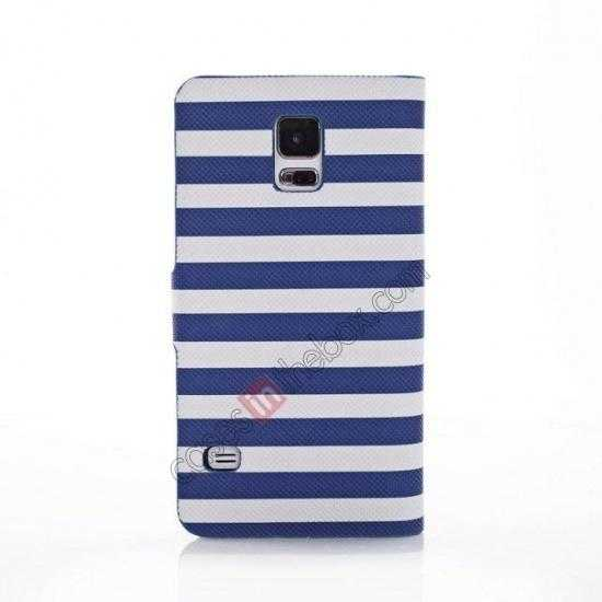 cheap Horizontal Strips Card Slots Leather Case for Samsung Galaxy S5 G900 w/ Stand - Blue