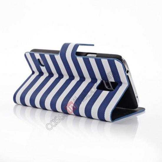 wholesale Horizontal Strips Card Slots Leather Case for Samsung Galaxy S5 G900 w/ Stand - Blue