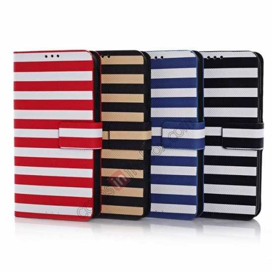 low price Horizontal Strips Card Slots Leather Case for Samsung Galaxy S5 G900 w/ Stand - Blue