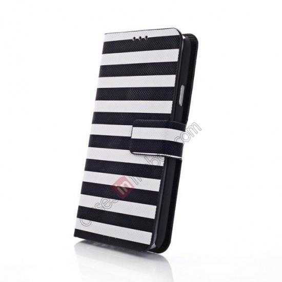 top quality Horizontal Strips Card Slots Leather Case for Samsung Galaxy S5 G900 w/ Stand - White