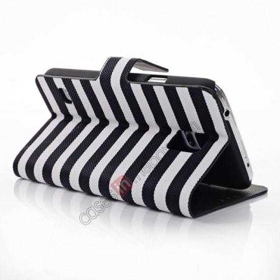wholesale Horizontal Strips Card Slots Leather Case for Samsung Galaxy S5 G900 w/ Stand - White