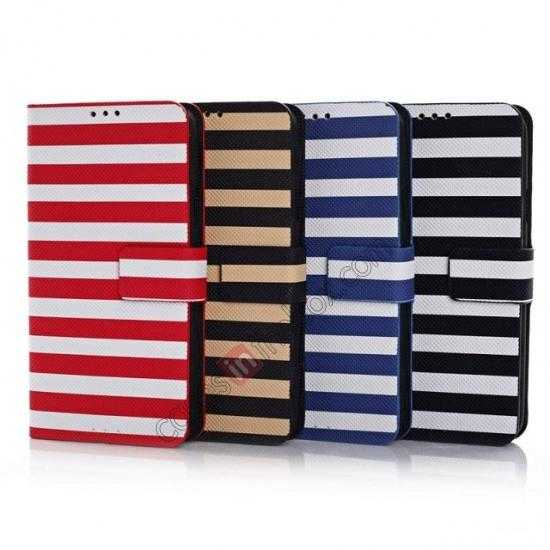 low price Horizontal Strips Card Slots Leather Case for Samsung Galaxy S5 G900 w/ Stand - White