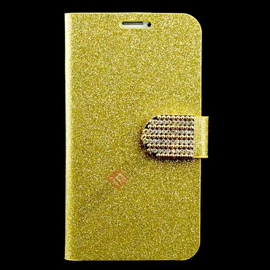 wholesale Hot Crystal Diamond Rhinestone Glitter Bling Flip Wallet Leather Case for Samsung Galaxy S5 - Champagne Gold