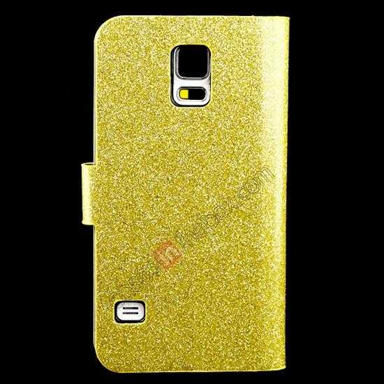 discount Hot Crystal Diamond Rhinestone Glitter Bling Flip Wallet Leather Case for Samsung Galaxy S5 - Champagne Gold