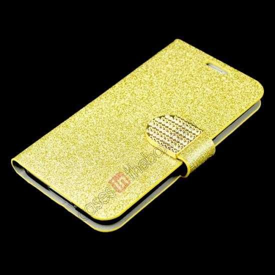 best price Hot Crystal Diamond Rhinestone Glitter Bling Flip Wallet Leather Case for Samsung Galaxy S5 - Champagne Gold