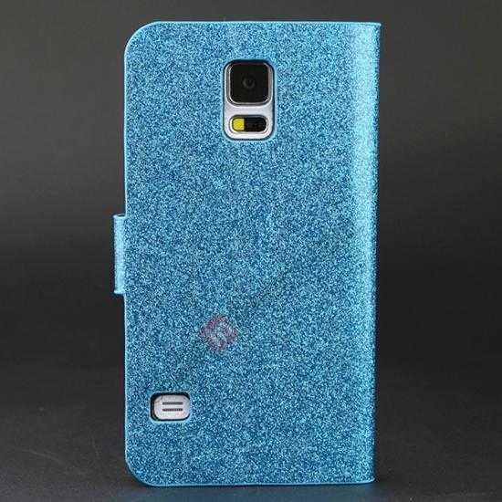 discount Hot Crystal Diamond Rhinestone Glitter Bling Flip Wallet Leather Case for Samsung Galaxy S5 - Blue