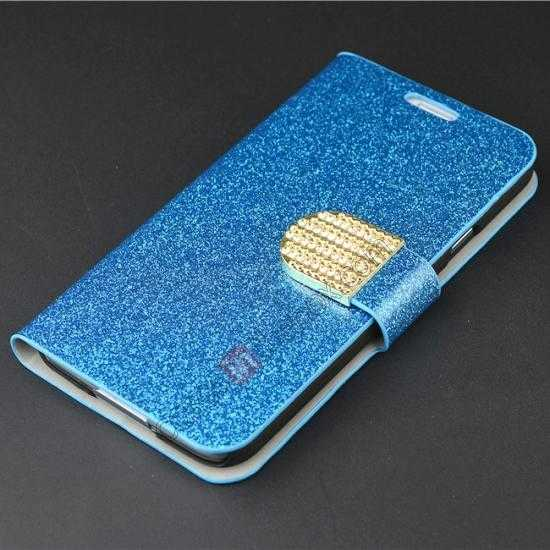 top quality Hot Crystal Diamond Rhinestone Glitter Bling Flip Wallet Leather Case for Samsung Galaxy S5 - Blue