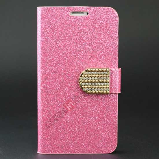 wholesale Hot Crystal Diamond Rhinestone Glitter Bling Flip Wallet Leather Case for Samsung Galaxy S5 - Pink