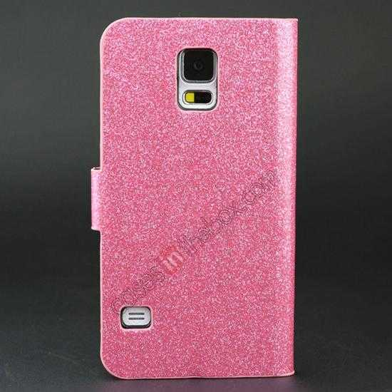 discount Hot Crystal Diamond Rhinestone Glitter Bling Flip Wallet Leather Case for Samsung Galaxy S5 - Pink