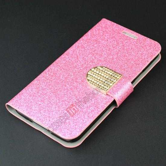 top quality Hot Crystal Diamond Rhinestone Glitter Bling Flip Wallet Leather Case for Samsung Galaxy S5 - Pink
