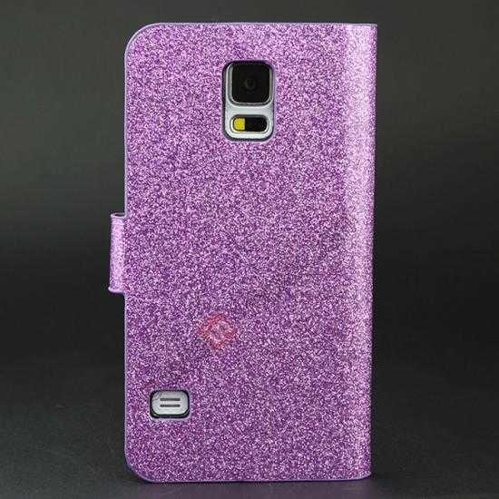 discount Hot Crystal Diamond Rhinestone Glitter Bling Flip Wallet Leather Case for Samsung Galaxy S5 - Purple