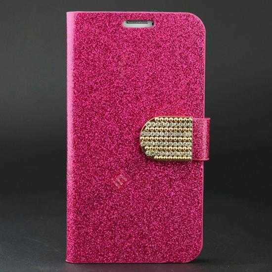 wholesale Hot Crystal Diamond Rhinestone Glitter Bling Flip Wallet Leather Case for Samsung Galaxy S5 - Rose red