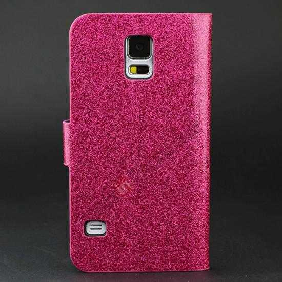 discount Hot Crystal Diamond Rhinestone Glitter Bling Flip Wallet Leather Case for Samsung Galaxy S5 - Rose red