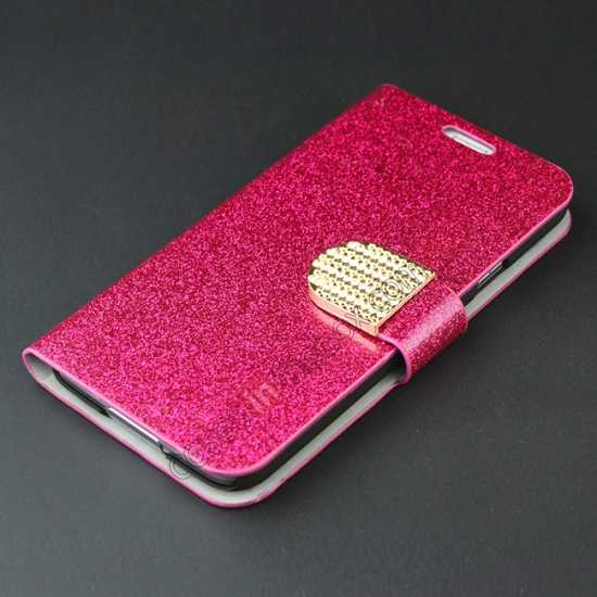 top quality Hot Crystal Diamond Rhinestone Glitter Bling Flip Wallet Leather Case for Samsung Galaxy S5 - Rose red