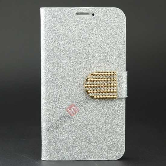 wholesale Hot Crystal Diamond Rhinestone Glitter Bling Flip Wallet Leather Case for Samsung Galaxy S5 - Silver