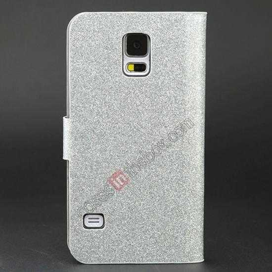 discount Hot Crystal Diamond Rhinestone Glitter Bling Flip Wallet Leather Case for Samsung Galaxy S5 - Silver